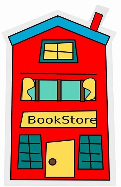 Bookstore Cartoon Clipart Building Simple Clip Books