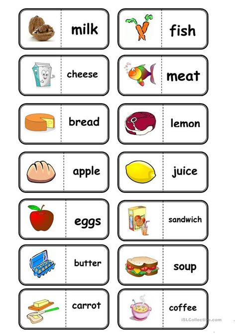 food domino worksheet  esl printable worksheets