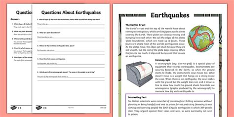 Earthquakes Differentiated Reading Comprehension Activity