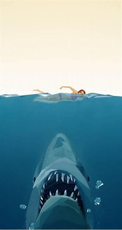 Jaws Poster Polygon Iphone Wallpapers Related Wallpapersafari