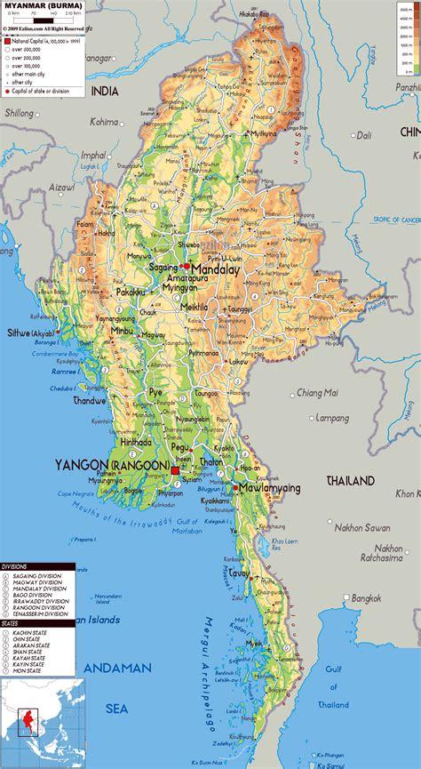 maps  myanmar burma detailed map  myanmar