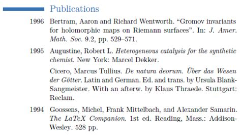 sorted list of publications in moderncv from bibtex tex