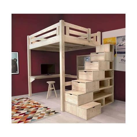 etagere chambre adulte lit mezzanine alpage bois escalier cube hauteur réglable brut 160x200 achat vente lit