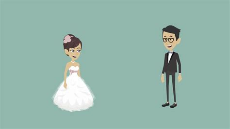 Bride And Groom Cartoon Stock Footage Video