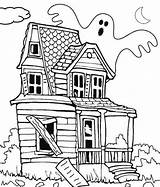 Haunted Coloring Pages Printable Print sketch template