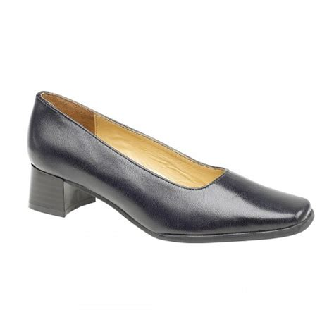 amblers walford leather navy court shoes