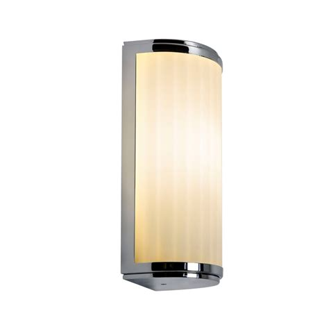 deco style flush bathroom wall light in chrome with curved