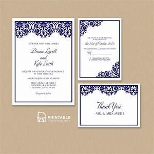 Free pdf damask frame wedding invitation templates set for Damask wedding invitations template free