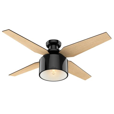 black ceiling fan with light hunter fan company cranbrook low profile gloss black led