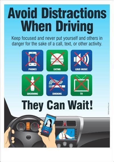 road safety poster avoid distractions  driving