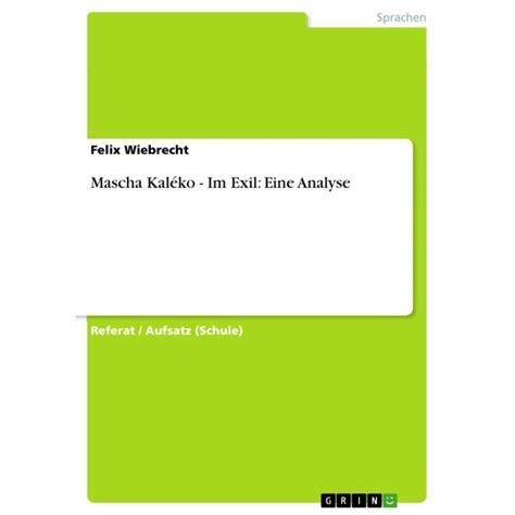 Mascha Kaléko - Im Exil: Eine Analyse - eBook - Walmart ...