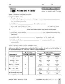 Mendel's Laws Of Heredity Worksheet For 9th  12th Grade  Lesson Planet
