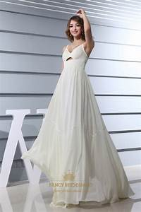 ivory empire waist chiffon wedding dress a line v neck With a line empire waist wedding dress