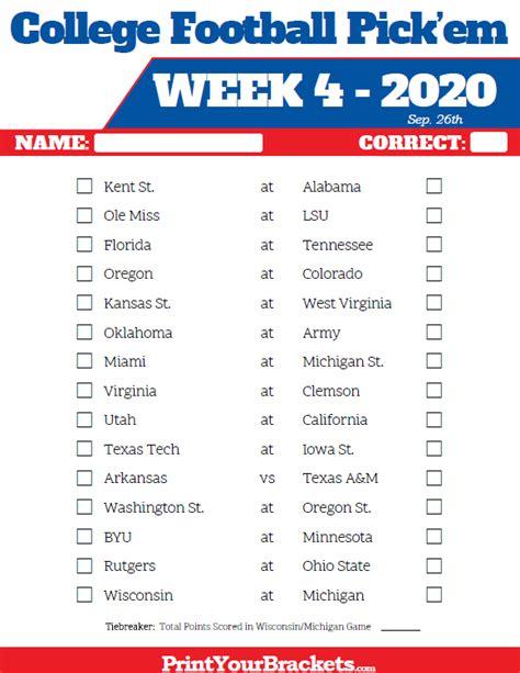 week  college football pickem sheets printable