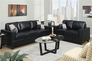 poundex tesse f7598 black leather sofa and loveseat set With sofa bed and loveseat set
