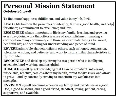 personal mission statement exles for resume
