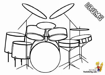 Drum Musical Coloring Drums Drawing Easy Drawings