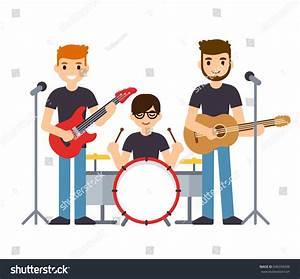 Rock Group Pop Music Boys Band Stock Vector 646339438 ...