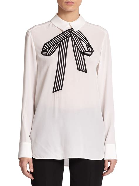 white blouse with bow stella mccartney silk bow detail blouse in white lyst