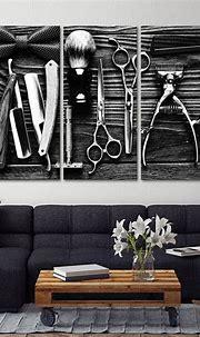 Lifestyle Barbershop BW Multi Panel Canvas Wall Art ...