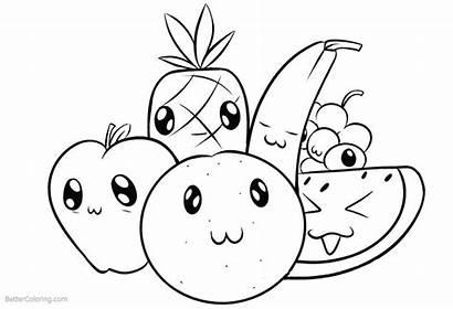 Coloring Fruits Cartoon Printable Essen Ausmalbilder Malvorlagen