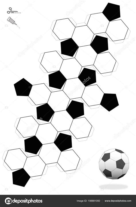 truncated icosahedron soccer ball template making object