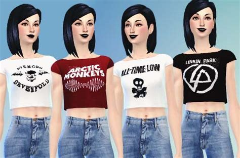 Sims 4 Cropped Band Tops Download