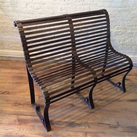 Rod Iron Benches by Late 19th Century Wrought Iron Park Bench For