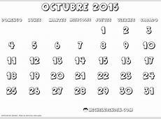 Calendarios Octubre 2015 para descargar, imprimir y pintar