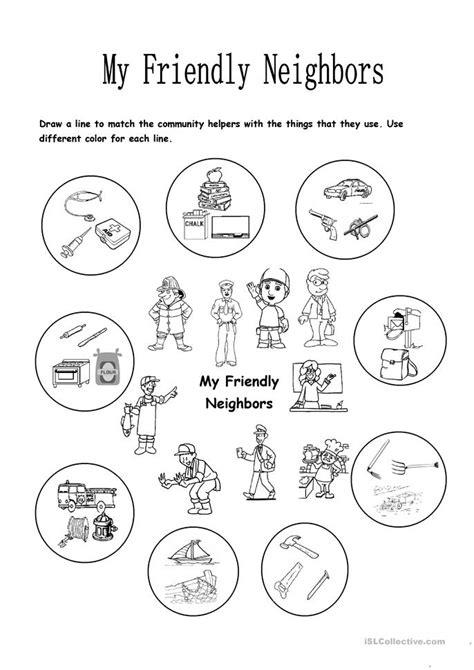 my friendly neighbors worksheet free esl printable