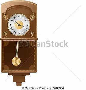 Vector vintage wall clock on white background eps vector ...
