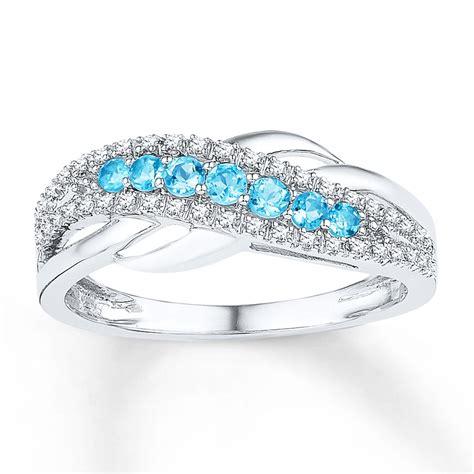 blue topaz ring  ct tw diamonds  white gold  kay