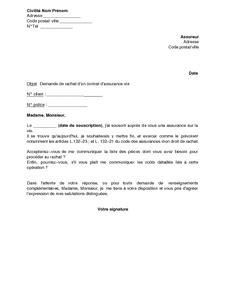 lettre de demande de rachat partiel ou total d un contrat