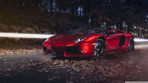 Lamborghini Aventador Lp700 4 Roadster Red Autumn 4k Hd