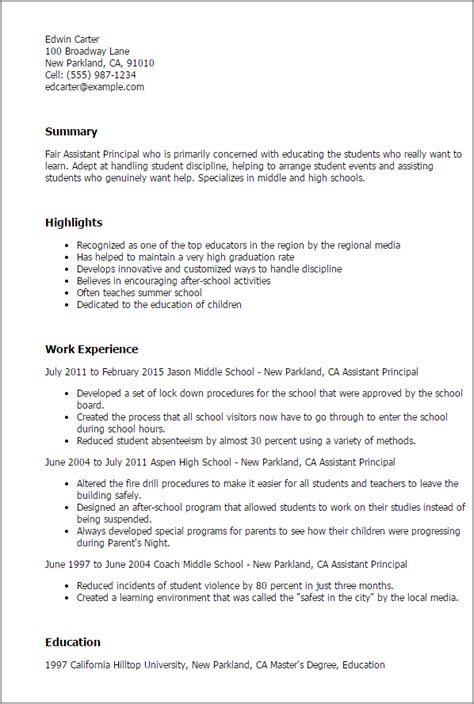 Assistant Principal Resume Objective Sles by Professional Assistant Principal Templates To Showcase Your Talent Myperfectresume