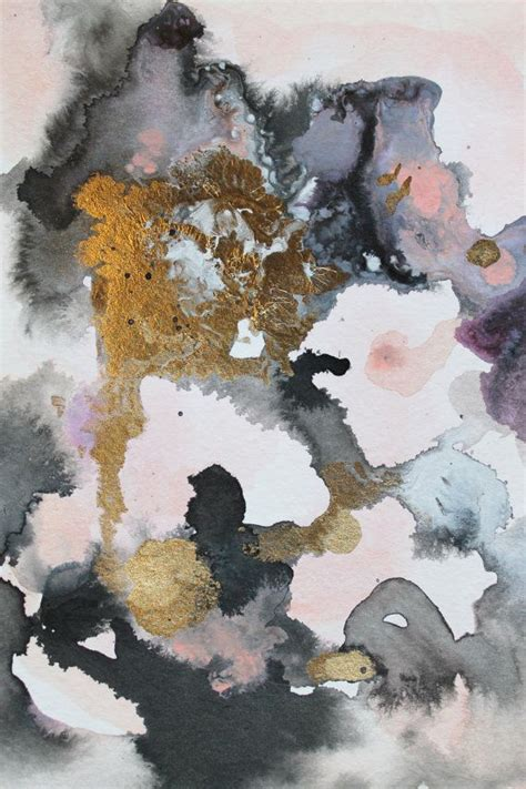 Abstract Black Watercolor by Original Painting Gold And Black Abstract