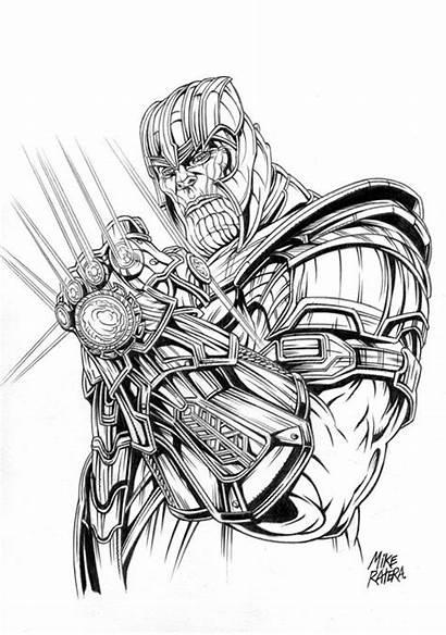 Drawing Thanos Marvel Avengers Mike Comics Kunst