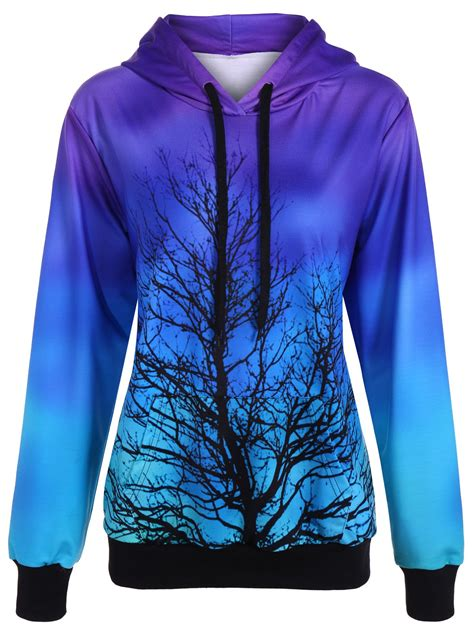 purple  size ombre color tree pullover hoodie rosegalcom