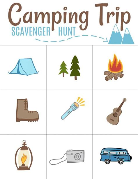 camping scavenger hunt printable family budgeting