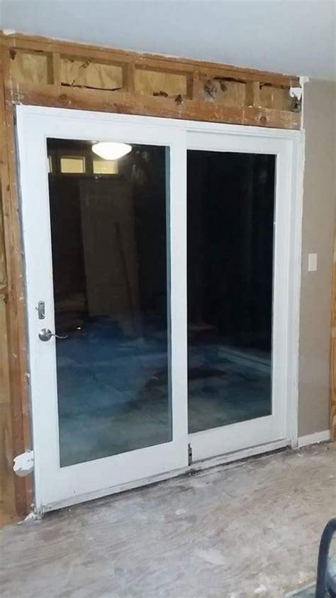 white wood framed pane sliding glass door in san