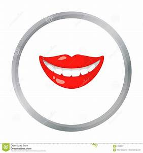 Smile With White Teeth Icon In Cartoon Style Isolated On ...