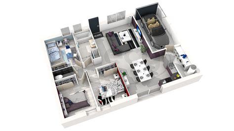 Plan De Maison 3d Plan De Maison Simple 3 Chambres En 3d