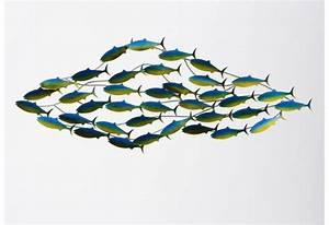 Décor mural banc de poisson vague bleu et jaune Amadeus 25755