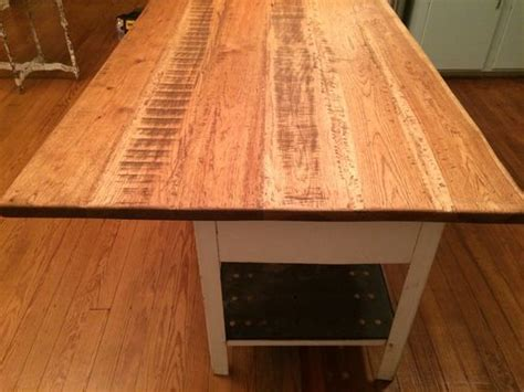 hand crafted custom wide plank hickory countertop  chas