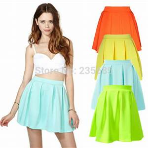 4 Colors New 2015 Women Skirts Spring Summer Casual Neon