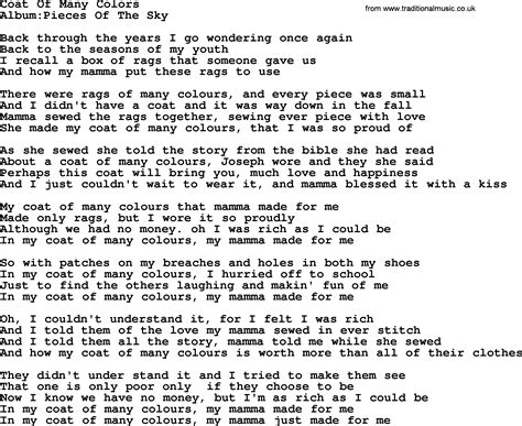 coat of many colors lyrics emmylou harris song coat of many colors lyrics