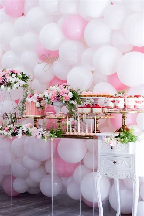 pink and white balloon decorations best 25 pink tables ideas on baby