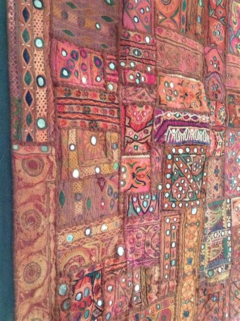 antique indian patchwork tapestry  embroidered wall