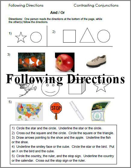 following directions worksheets http www