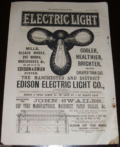 Edison Electric Light Company by 1886 Illustrated Advertisement For The Edison Electric